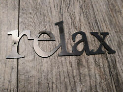 RELAX Metal Wall Art Word Quote Metal Sign Decor Steel RUSTIC Crafts supplies $12.95