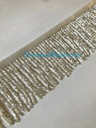 By the Yard 3quot; SILVER Glass BUGLE Bead Beaded Fringe Lamp Costume Trim $13.99
