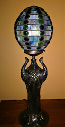 Tiffany Reproduction Lamp Peacock with Art Glass Shade Solid Brass Base 14 lbs $575.00