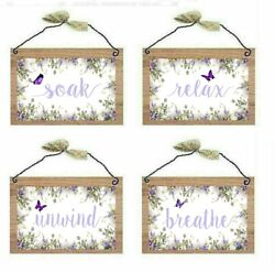 Lavender Bathroom Pictures Relax Soak Unwind Renew Purple Wall Hangings Plaques $14.99