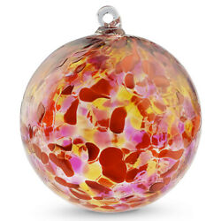 FRIENDSHIP BALL Hand Blown Art Bright RedOrangeGold Ornament WitchBall