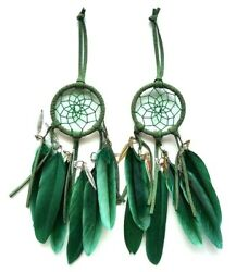 2 pc Boho Diy Green Chicken Feather Wall Hanging Decoration style Dream Catcher $12.98