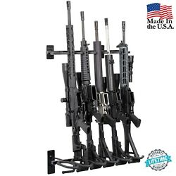 Modern Gun Rack 6 Rifle Shotgun Wall Mount Black Tactical Steel Hold Up Displays $119.99