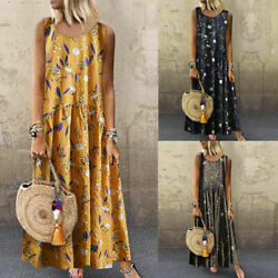 Women Plus Size Bohemian O Neck Floral Print Vintage Sleeveless Long Maxi Dress $19.99