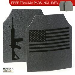 Body Armor AR500 American Flag 10x12 Plates! Immediate Shipping Free Trauma Pads $99.95