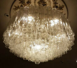 Monumental Toni Zuccheri for Venini Tronchi Murano Glass Chandelier Ceiling