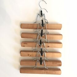 High Grade Wooden Pants Hangers with Clips Non Slip Slack Skirt Hangers 6 Pack $14.99