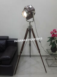 New Classical Spotlight Floor Lamp Industrial Wooden Lighting With Wood Tripod $290.00