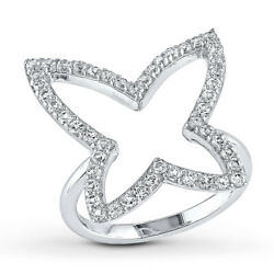 2.00 Carat White Topaz Butterfly Ring April Birthstone in Sterling Silver $214.27