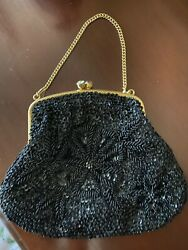 VINTAGE BEADED BLACK EVENING BAG PURSE HAND MADE IN HONG KONG