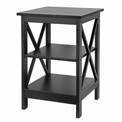 24 Inch End Table Sofa Side End Storage Shelf X Design LivingRoom Furniture $48.99