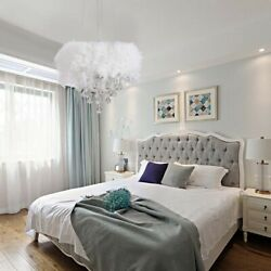 Modern Country Chandelier White Feather Crystal Ceiling Lamp Room Bedroom Light $149.00