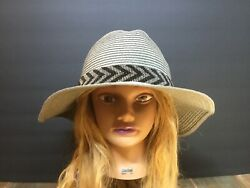 Nwt olive & Pique Beach Comber Strawpaper Sun Hat Gray w black Beaded Band $24.00