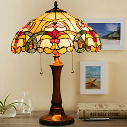 Tiffany Style Victorian 2 Light Table Lamp Stained Shade Lighting Living Room $163.99