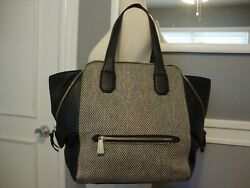 Olivia + Joy Black & White Woven Large Faux Leather Footed Handbag ExcellentCond $27.00