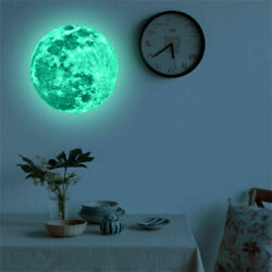 Creative 3D Large Moon Glow In The Dark Fluorescent Wall Sticker Removable Decal $7.99
