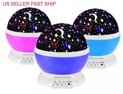 Color Changing Projection LED Night Light Lamp Baby Moon and Star Projector