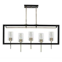Decor Therapy Seraphina 5-Light Black and Chrome Island Pendant $130.86