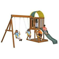 Outdoor Playset Backyard Playground Swing Set Kids Cedar Wood Climbing Frame Gym