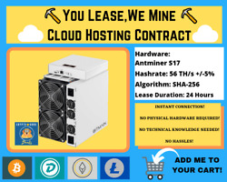 Antminer S17 24 HOURS Bitcoin Cloud Mining Contract ⛏️☁️You LeaseWe Mine☁️⛏️ $12.00