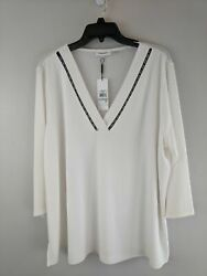 Women#x27;s Calvin Klein Lace V Neck 3 4 Sleeve Top Size 1XL White Black $10.82