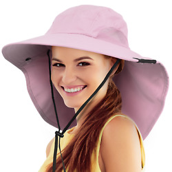 Sun Hat for Women UV Protection Wide Brim Beach Fishing Hat wNeck Flap Cover $12.99