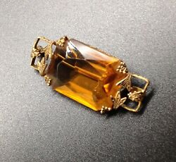 Antique Large Citrine Yellow Quartz open back Brooch Pin old Victorian Edwardian $65.00