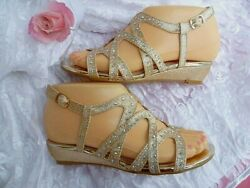 CHAMPAGNE WEDGE PARTY GIRLS SANDALS SIZES:9 4 $8.49