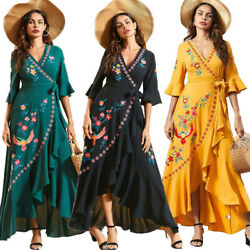 Summer Women Long Wrap Dress Boho Floral Ruffles Holiday Beach Cover Up Dresses $32.16