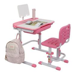 Children Desk and Chair Set Height Adjustable Kids Study Drawing Play Table Pink $85.98