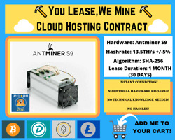 Antminer S9 1 MONTH Bitcoin Cloud Mining Contract ⛏️☁️You LeaseWe Mine☁️⛏️ $145.00