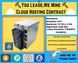 Antminer S17+ 1 MONTH Bitcoin Cloud Mining Contract ⛏️☁️You LeaseWe Mine☁️⛏️