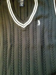 Womens Izod Black White Golf Sweater Vest Cable Knit Cotton Trendy Size Large $15.00