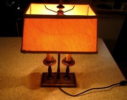 Vintage Brass Double Lamp Candle Sticks Rectang Shade Rotary Switch Mid Century $98.99