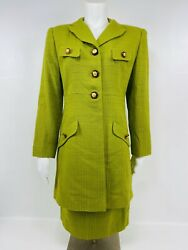Vintage Rickie Freeman Teri Jon Green Skirt Long Jacket Suit Size 6 $149.99