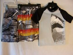 CHILDREN'S PLACE Boy's 3 Pc. Size 56 Swim Shark Outfit - Very Good Condition $13.99