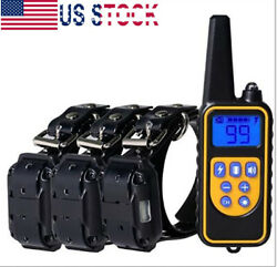 Dog Shock Training Collar Rechargeable Remote Control Waterproof IP67 875 Yards $24.59