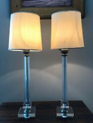 Glass Column Table Lamps Bedside Lamps with Silk Shades $39.00