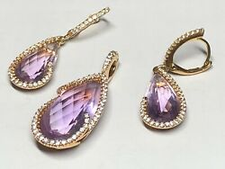 Pendant and Earrings Set 1.33ct Diamonds &14ct Amethyst in 18ct Gold by SETTE