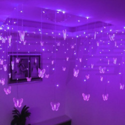 Butterfly LED Icicle Butterfly String Fairy Curtain Window Color Light Xma Decor $18.60