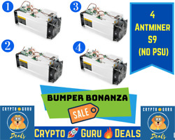 🏃Home Run Deal🏃 4 Qty Bitmain Antminer S9 Bitcoin Miner FREE SHIP Not S17 S19 $289.99