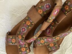 FABULOUS lucky brand shoes 8.5 Wedges Boho Nordstrom's Floral Embroidered 38.5 $10.30