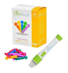 Care Touch Adjustable Lancing Device - 10 Depths w 100 30G Multicolored Lancets $9.50