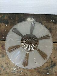 """ANTIQUE VIntage GLASS CEILING SHADE 10 7 8"""" 3 HOLE ART DECO Clear Cream $21.43"""