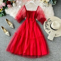 Lady Mesh Holiday Dresses Lolita Solid Princess Retro Party Summer Beach Elegant $25.41