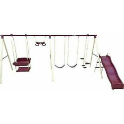 Large Outdoor Metal Swing Set Trapeze Bar 6Wave Slide Air Glider Fun Playground