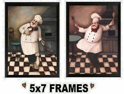 💗 5x7 Chef Pictures Fat Cooks Singing Dancing Cat Kitchen Decor Wall Hangings $8.99