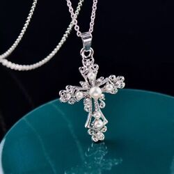 Women 925 STERLING SILVER Plt Faux PEARL CROSS Cubic Pendant Necklace N123