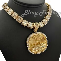 Hip Hop Last Supper Pendant amp; 16quot; 18quot; Full Iced Choker Bust Down Chain Necklace $16.14