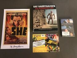 Ray Harryhausen SIGNED set -Book #'d SHE art print DVD cover and DVD - 4 Items